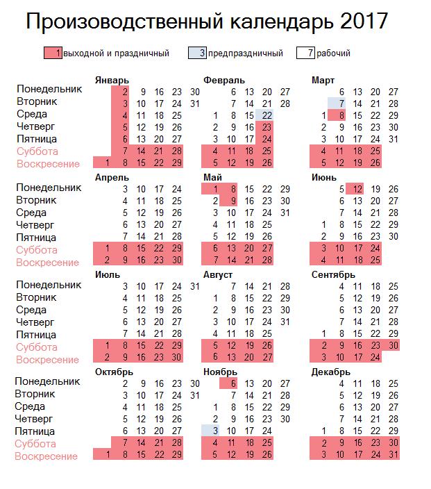 Производственный календарь 2017 фото